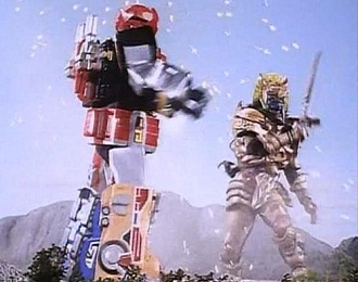 might be best to show a monster fighting a super robot