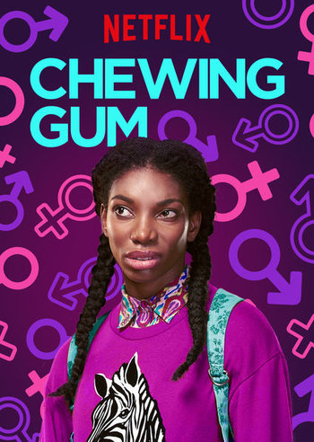 Netflix poster for Chewing Gum - Michaela Coel on a purple background