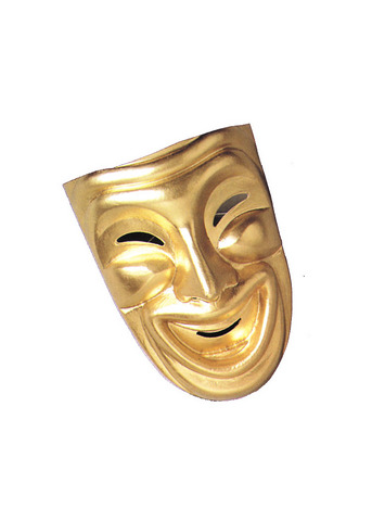 "Tragedy Comedy Masks. ""Tragedy is when I cut my"