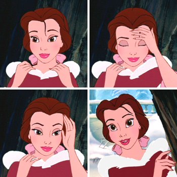 Character Tics Belle Tucks Back A Lock Of Hair Thats Always Falling In Her Face