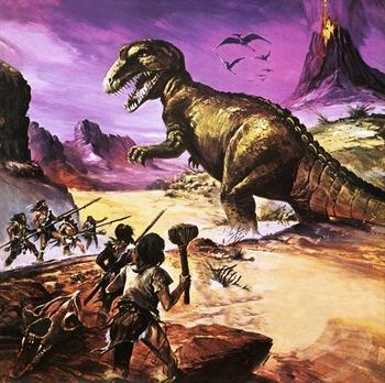 http://static.tvtropes.org/pmwiki/pub/images/cavemen_vs_trex.png