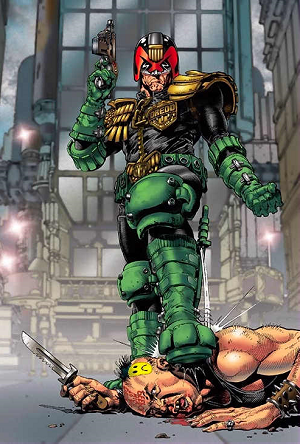 http://static.tvtropes.org/pmwiki/pub/images/cliff_robinson_dredd_foot_on_perp.png