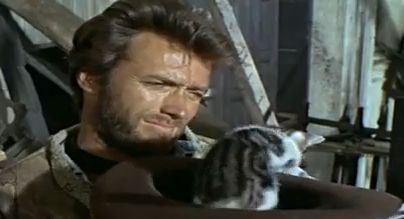 clint eastwood trying to smile as the kitten ties to climb out of his
