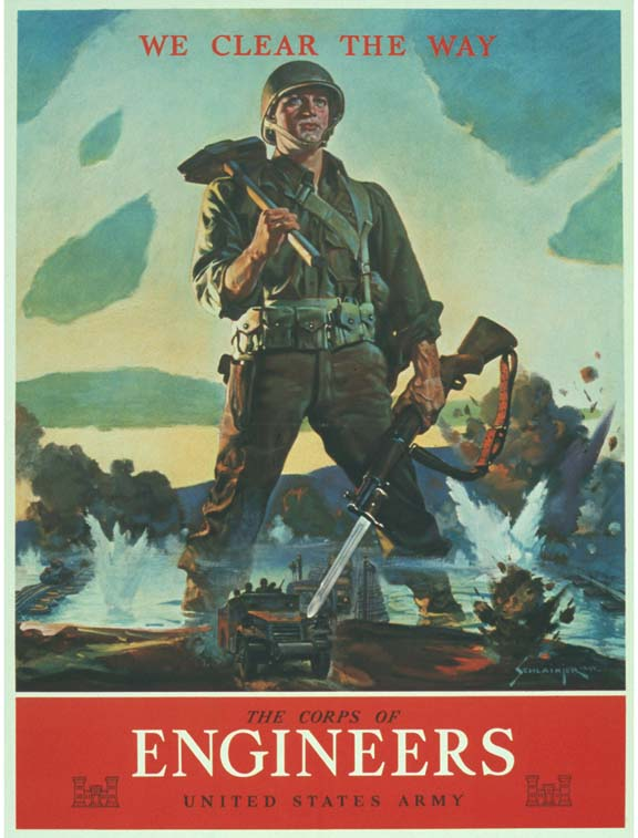 Heroic poster of  US Corps of Engineers