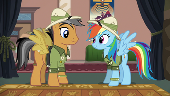 https://static.tvtropes.org/pmwiki/pub/images/quibble_pants_and_rainbow_dash_dressed_as_daring_do_s6e13.png