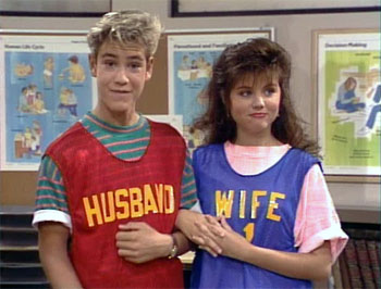 Saved by the bell series tv tropes high school sweethearts zack and kelly their eventual marriage even got bookmarktalkfo Image collections