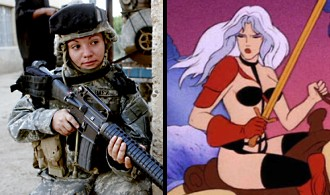 http://static.tvtropes.org/pmwiki/pub/images/taarna_versus_real_lady_soldier.jpg