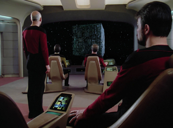 https://static.tvtropes.org/pmwiki/pub/images/tng_q_who_first_view_of_borg_cube.jpg